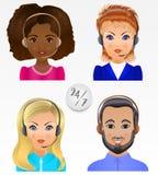 Vastgestelde vectormensenavatars De werknemers van call centre steunen en Royalty-vrije Stock Afbeelding