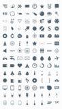 Vastgestelde vectorpictogrammen, tekens, symbolen en pictogrammen. Stock Afbeeldingen