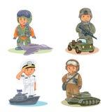 Vastgestelde vectorpictogrammen van kleine kinderen verschillende beroepen stock illustratie