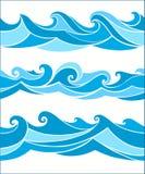 Vastgestelde vektor naadloze golven Royalty-vrije Stock Afbeeldingen