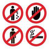 Vastgestelde verbodspictogrammen Stock Foto's