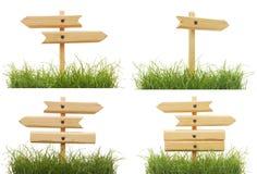Vastgestelde verkeersteken met groen gras Stock Foto's