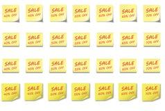 Vastgestelde Verkoop 40- 70% van de POST-ITnota Royalty-vrije Stock Foto