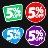 Vastgestelde Verkoop 5% weg, de ontwerpsjabloon van kortingsbanners, extra aanbiedingsmarkeringen, vectorillustratie stock illustratie
