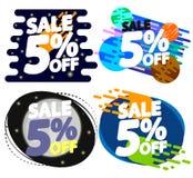Vastgestelde Verkoop 5% weg, de ontwerpsjabloon van kortingsbanners, extra aanbiedingsmarkeringen, vectorillustratie vector illustratie