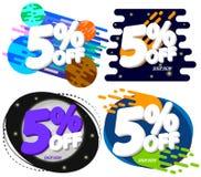 Vastgestelde Verkoop 5% weg, de ontwerpsjabloon van kortingsbanners, extra aanbiedingsmarkeringen, vectorillustratie royalty-vrije illustratie