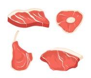 Vastgestelde verschillende besnoeiingen van vlees Beelden voor concept landbouwers` s markt en winkel stock illustratie