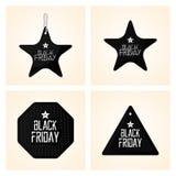 Vastgestelde Verschillende Black Friday-Geïsoleerde Stickers Royalty-vrije Stock Afbeelding