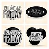 Vastgestelde Verschillende Black Friday-Geïsoleerde Stickers Stock Afbeelding