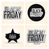Vastgestelde Verschillende Black Friday-Geïsoleerde Stickers Stock Afbeeldingen