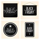 Vastgestelde Verschillende Black Friday-Geïsoleerde Stickers Stock Fotografie