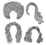 Vastgestelde verschillende krullende de schoonheids Afrikaanse stijl van de harenmanier de tekeningsschets van het randpotlood Royalty-vrije Stock Fotografie