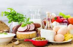 Vastgestelde verschillende voedselgezonde voeding Stock Foto