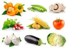 Vastgestelde verse groenten met groene geïsoleerde bladeren Royalty-vrije Stock Fotografie