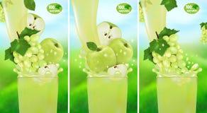 Vastgestelde verse sapdruif en Apple met plons Stroom van vloeistof met dalingen en zoete fruit 3d realistische vectorillustratie royalty-vrije illustratie