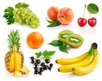 Vastgestelde verse vruchten met groene bladeren stock foto's
