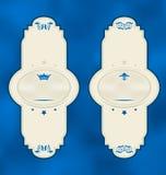Vastgestelde verticale uitstekende etiketten met ontwerpelementen Royalty-vrije Stock Foto's