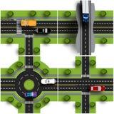 Vastgestelde vervoerhub De kruisingen van diverse wegen Rotondeomloop verkeer Voorwerpen met schaduw royalty-vrije illustratie
