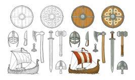 Vastgestelde Viking Drakkar mes, bijl, helm, zwaard, hamer, thoramulet stock illustratie