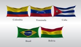Vastgestelde Vlaggen van Amerika Golvende vlag van Colombia, Venezuela, Cuba, Brazilië, Bolivië Vector illustratie Royalty-vrije Stock Fotografie