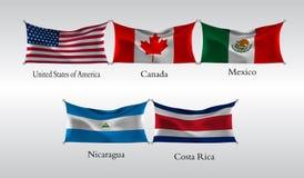 Vastgestelde Vlaggen van Amerika Golvende vlag van de Verenigde Staten van Amerika, Canada, Mexico, Nicaragua, Costa Rica Vector  Royalty-vrije Stock Afbeeldingen
