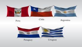 Vastgestelde Vlaggen van Amerika Golvende vlag van Peru, Chili, Argentinië, Paraguay, Uruguay Vector illustratie Royalty-vrije Stock Afbeeldingen