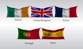 Vastgestelde Vlaggen van Europese landen Golvende vlag van Ierland, het Verenigd Koninkrijk, Frace, Portugal, Spanje Vector illus Royalty-vrije Stock Afbeeldingen