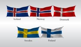 Vastgestelde Vlaggen van Europese landen Golvende vlag van IJsland, Noorwegen, Denemarken, Zweden, Finland Vector illustratie Royalty-vrije Stock Foto
