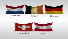 Vastgestelde Vlaggen van Europese landen Golvende vlag van Nederland, België, Duitsland, Zwitserland, Oostenrijk Vector illustrat Royalty-vrije Stock Fotografie