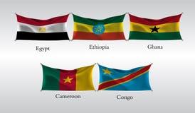 Vastgestelde Vlaggen van Landen in Afrika Golvende vlag van Egypte, Ethiopië, Ghana, Kameroen, de Kongo Vector illustratie Stock Foto's
