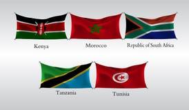 Vastgestelde Vlaggen van Landen in Afrika Golvende vlag van Kenia, Marokko, de Republiek Zuid-Afrika, Tanzania, Tunesië Vector il Stock Foto