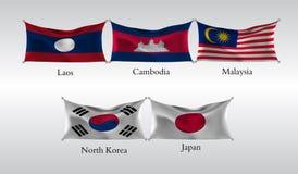 Vastgestelde Vlaggen van Landen in Azië Golvende vlag van Laos, Canmodia, Maleisië, Noord-Korea, Japan Vector illustratie Stock Afbeeldingen