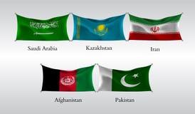 Vastgestelde Vlaggen van Landen in Azië Golvende vlag van Saudi-Arabië, Kazachstan, Iran, Afganistan, Pakistan Vector illustratie Stock Afbeeldingen