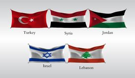 Vastgestelde Vlaggen van Landen in Azië Golvende vlag van Turkije, Syrië, Jordanië, Izrael, Libanon Vector illustratie Royalty-vrije Stock Afbeelding