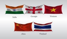 Vastgestelde Vlaggen van Landen in Azië India, Georgië, Vietnam, China, Thailand Vector illustratie Stock Afbeeldingen