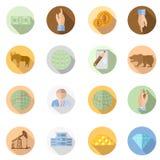 vastgestelde vlakke beurspictogrammen met lange schaduw op cirkelachtergrond Royalty-vrije Stock Afbeeldingen