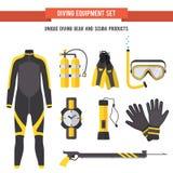 Vastgestelde vlakke elementen voor het duiken en het spearfishing Royalty-vrije Stock Afbeeldingen