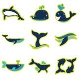 Vastgestelde vlakke pictogrammen met lange schaduwwalvissen vector illustratie