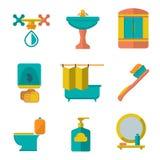 Vastgestelde vlakke pictogrammen van badkamers en toilet Stock Foto's