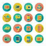 Vastgestelde vlakke pictogrammen van huistechnieken en toestellen Stock Foto