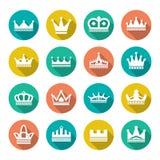 Vastgestelde vlakke pictogrammen van kroon Stock Foto's