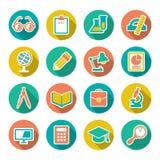Vastgestelde vlakke pictogrammen van school en onderwijs met lang s Stock Fotografie