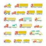 Vastgestelde vlakke pictogrammen van vrachtwagens, aanhangwagens en voertuigen Stock Foto