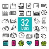 Vastgestelde vlakke pictogrammen, voor Web en mobiele apps, interfaceontwerp EPS10 Stock Fotografie