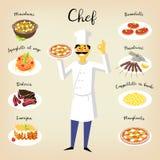 Vastgestelde vlakke stijlpictogrammen van traditioneel Italiaans voedsel stock illustratie