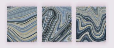 Vastgestelde vloeibare marmeren textuur Grijs en gouden schitter inkt schilderend abstract patroon In achtergronden voor behang,  stock illustratie