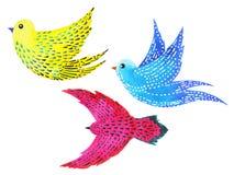 Vastgestelde vrije vogels die patroon het minimale waterverf schilderen vliegen royalty-vrije illustratie