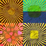 Vastgestelde Wijnoogst Gekleurde Stralenachtergrond EPS10 Vector Stock Afbeeldingen