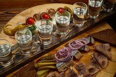 Vastgestelde wodka en haringen Royalty-vrije Stock Afbeeldingen