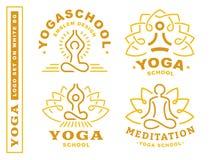 Vastgestelde yogaemblemen - vectorillustratie, embleem op witte achtergrond royalty-vrije illustratie